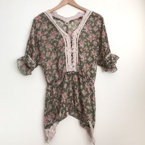Free People Floral Printed Peasant Peplum Blouse